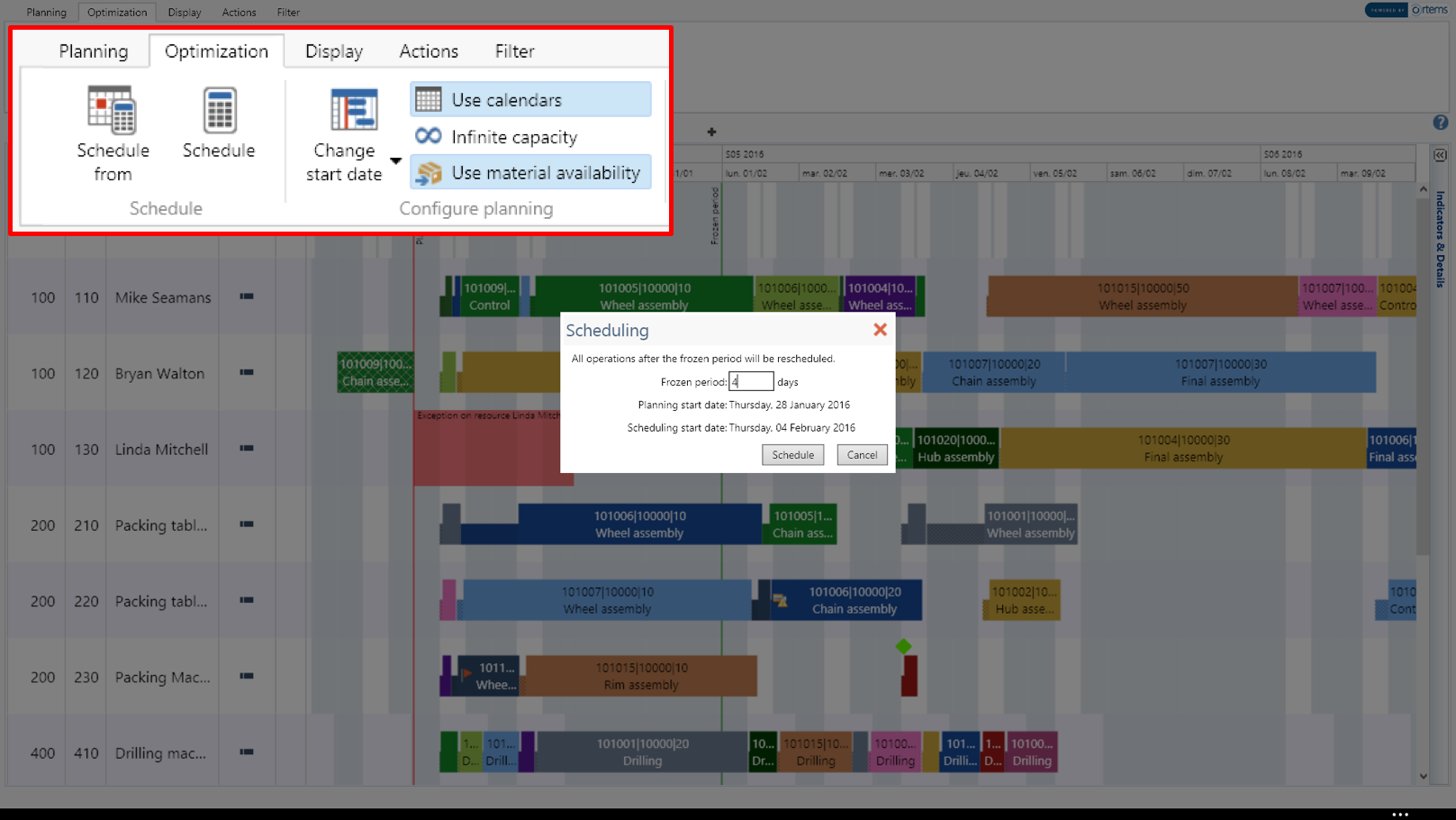 PlannerOne is a Constraint-based finite-capacity production scheduling tool.