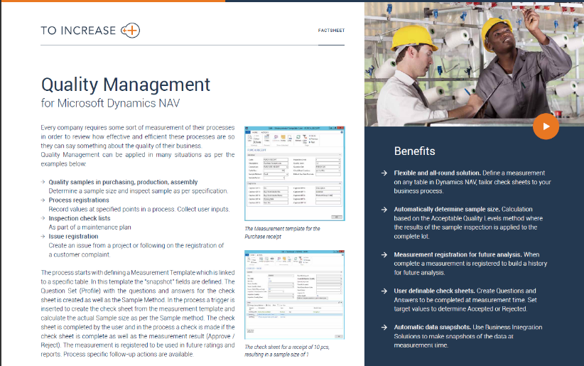 To-Increase Quality Management for Microsoft Dynamics NAV