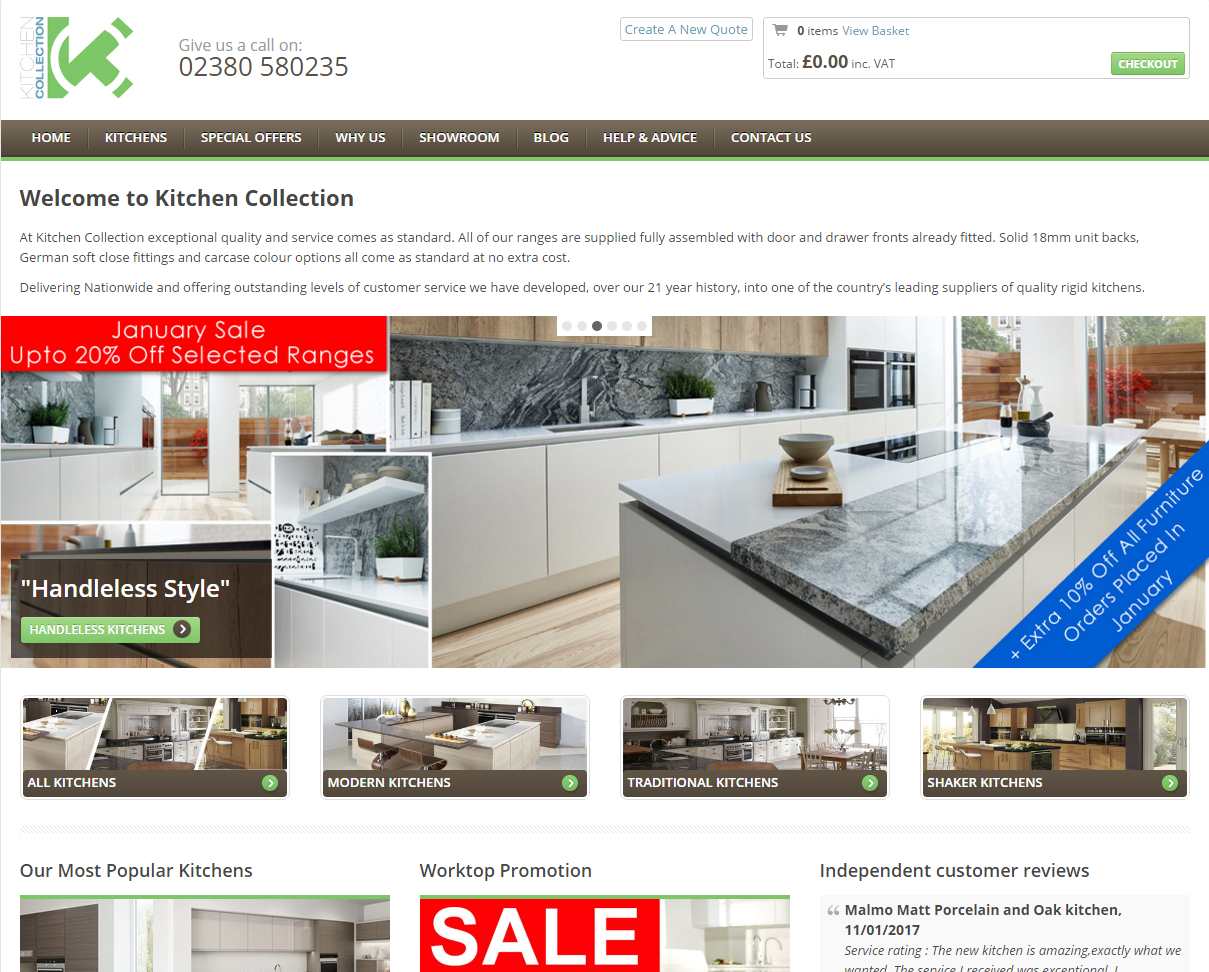 Kitchen Collection Hampshire based KBB e-commerce webstore with back office integration