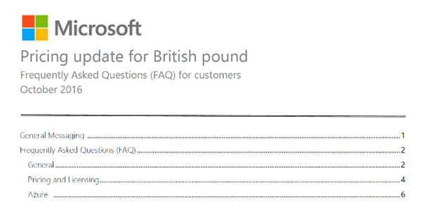 Microsoft Align Pound Sterling Prices to Euro Value