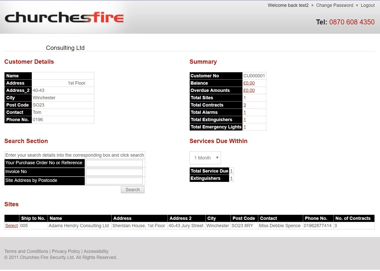 Churches Fire website customer portal developed by Dynamics Consultants