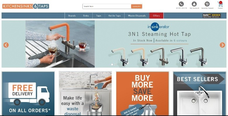 Kitchen Sinks and Taps Southampton based KBB e-commerce webstore with back office integration