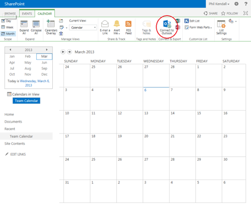 SharePoint 2013 Connect to Outlook