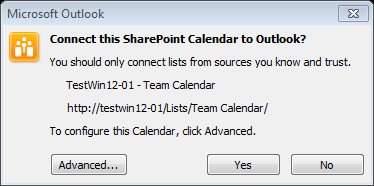 SharePoint 2013 to Oulook Connection Confirmation