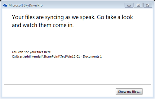 SkyDrive Pro - Files are Syncing