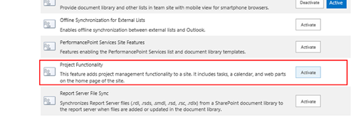 SharePoint® 2013 Project Management Feature Setup