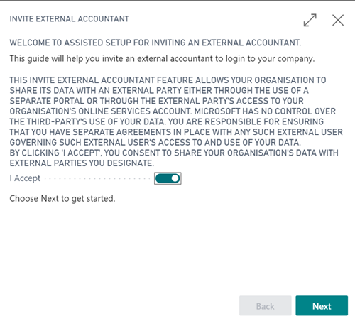Invite External Accountant assisted setup