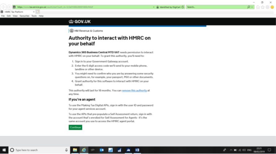 give authority to Dynamics to interact with HMRC